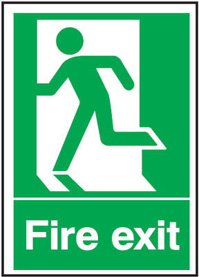 UK Fire Exit Signs - A4 fire exit man left 1.2 mm rigid plastic signs with self adhesive backing.