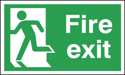 UK Fire Exit Signs - 150 x 300 mm fire exit man left 1.2 mm rigid plastic signs with self adhesive backing.