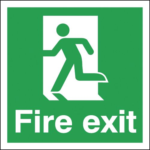 UK Fire Exit Signs - 150 x 150 mm fire exit man left 1.2 mm rigid plastic signs with self adhesive backing.