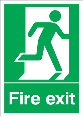 UK Fire Exit Signs - A5 fire exit man right 1.2 mm rigid plastic signs with self adhesive backing.
