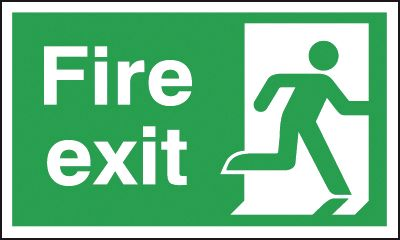 UK Fire Exit Signs - 150 x 450 mm fire exit man right 1.2 mm rigid plastic signs with self adhesive backing.