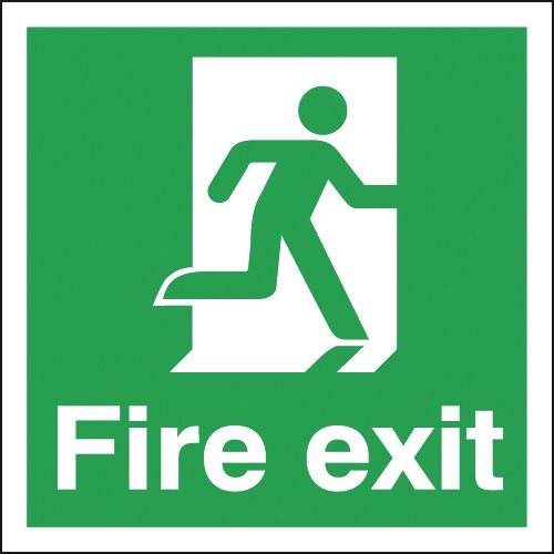 UK Fire Exit Signs - 150 x 150 mm fire exit man right self adhesive vinyl labels.