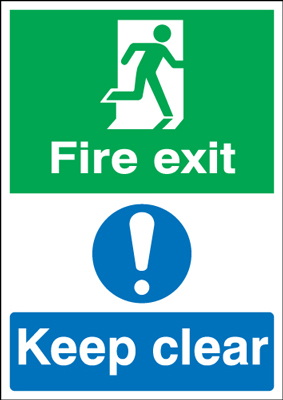 A3 fire exit keep clear 1.2 mm rigid plastic signs with self adhesive backing.