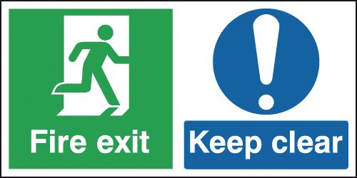 150 x 300 mm fire exit keep clear 1.2 mm rigid plastic signs with self adhesive backing.