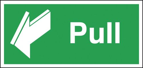 Fire exit signs - 50 x 100 mm pull 1.2 mm rigid plastic signs.