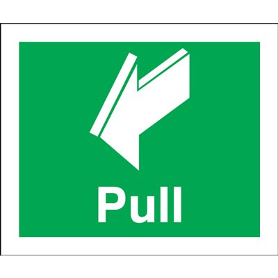 Fire exit signs - 150 x 50 pull 1.2 mm rigid plastic signs with self adhesive backing.