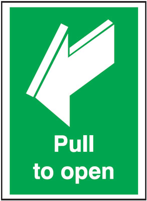 Fire exit signs - A5 pull to open 1.2 mm rigid plastic signs with self adhesive backing.