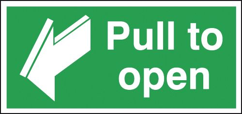 Fire exit signs - 50 x 100 mm pull to open 1.2 mm rigid plastic signs with self adhesive backing.