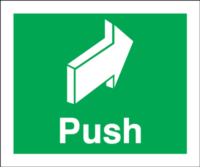 Fire exit signs - 150 x 50 push 1.2 mm rigid plastic signs with self adhesive backing.