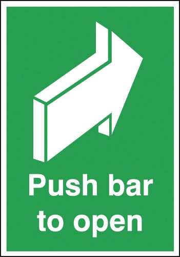 Fire exit signs - A4 push bar to open 1.2 mm rigid plastic signs with self adhesive backing.