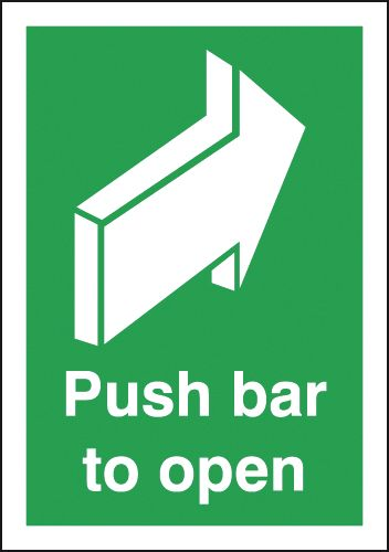 A5 Push Bar To Open Safety Signs