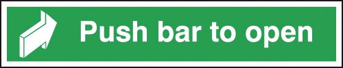Fire exit signs - 150 x 600 mm push bar to open 1.2 mm rigid plastic signs with self adhesive backing.