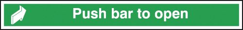 75 x 600 mm Push Bar To Open Safety Signs