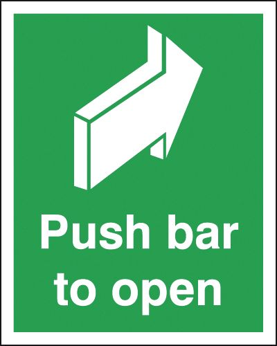 250 x 200 mm Push Bar To Open Safety Signs