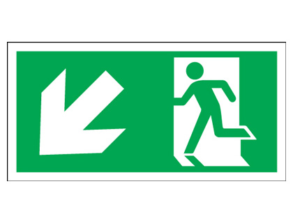 150 x 300 mm running man arrow left down 1.2 mm rigid plastic signs.