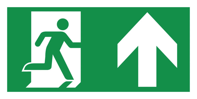 Fire exit signs - 150 x 300 mm running man arrow up symbol self adhesive vinyl labels.