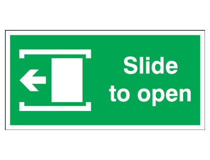 200 x 400 mm slide to open arrow left self adhesive vinyl labels.