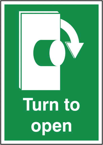 Fire exit signs - A5 turn to open clockwise 1.2 mm rigid plastic signs with self adhesive backing.