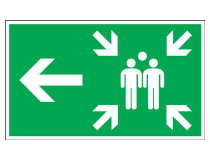 150 x 300 mm arrow left large assembly point 1.2 mm rigid plastic signs with self adhesive backing.