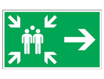 150 x 300 mm arrow right large assembly point 1.2 mm rigid plastic signs with self adhesive backing.