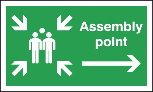 300 x 500 mm assembly point group symbol & a 1.2 mm rigid plastic signs.
