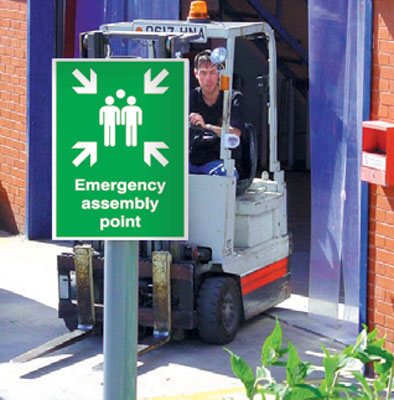 400 x 300 mm emergency assembly point aluminium sign with channel on back.