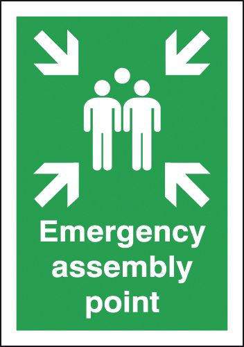A5 emergency assembly point self adhesive vinyl labels.