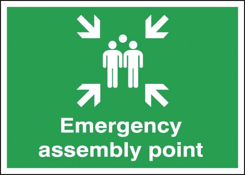250 x 350 mm emergency assembly point self adhesive vinyl labels.