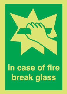 70 x 50 mm nite-glo in case of fire break glass rigid nite glo plastic class B 1.2 mm