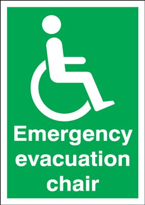 400 x 300 mm emergency evacuation chair self adhesive vinyl labels.