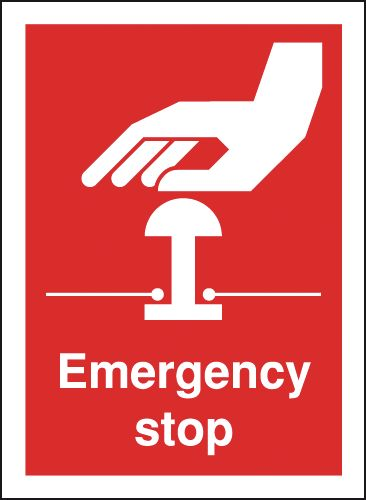 Prohibition signs - 100 x 75 mm emergency stop self adhesive vinyl labels.