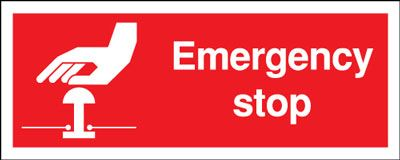 Prohibition signs - 100 x 250 mm emergency stop self adhesive vinyl labels.