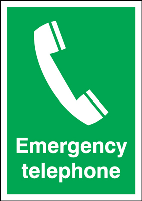 150 x 125 mm emergency telephone self adhesive vinyl labels.