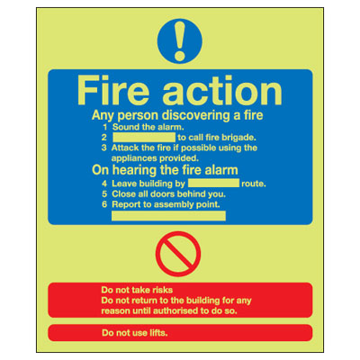 UK fire signs - 300 x 250 mm fire action standard 1 mm durable aluminium