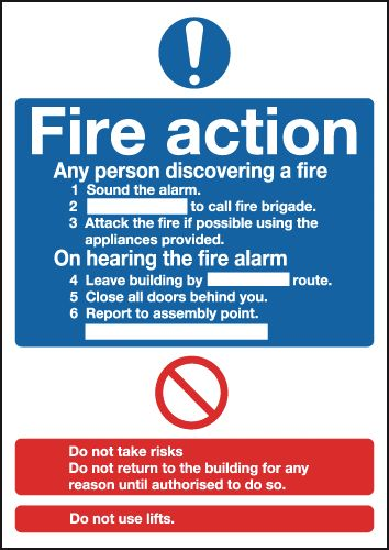 UK mandatory signs - A5 fire action standard self adhesive vinyl labels.