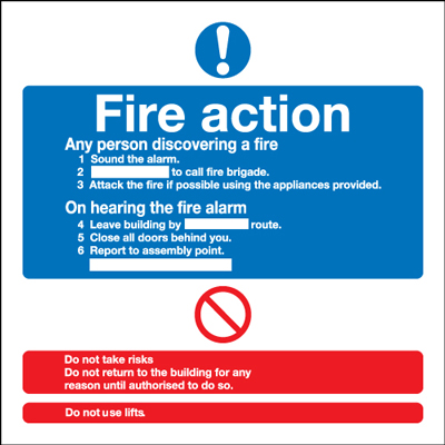UK mandatory signs - 200 x 200 mm fire action standard self adhesive vinyl labels.