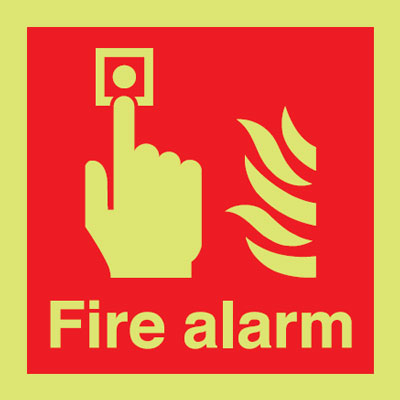 150 x 150 mm NG fire alarm nite glo self adhesive class B