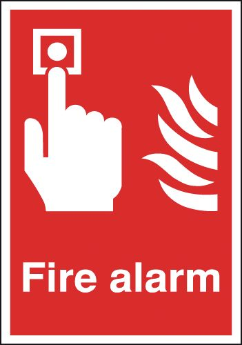 A5 fire alarm self adhesive vinyl labels.
