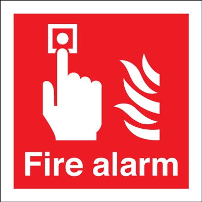 200 x 200 mm fire alarm self adhesive vinyl labels.
