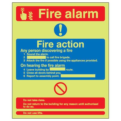 UK fire alarm signs - 300 x 250 mm fire alarm & fire action (dual M 1 mm durable aluminium