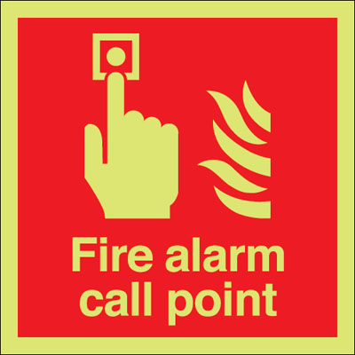 UK fire alarm signs - 100 x 100 mm fire alarm call point 1 mm durable aluminium