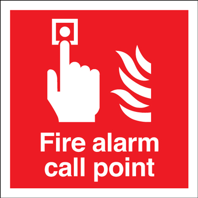 100 x 100 mm NG fire alarm call point nite glo self adhesive class B