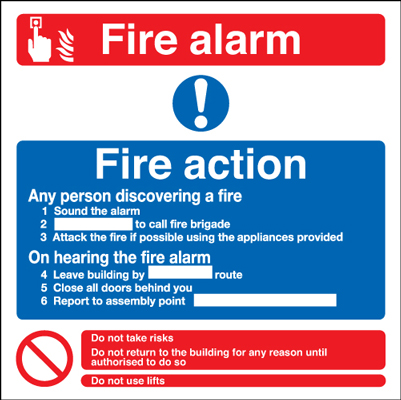 200 x 200 mm fire alarm fire action any self adhesive vinyl labels.