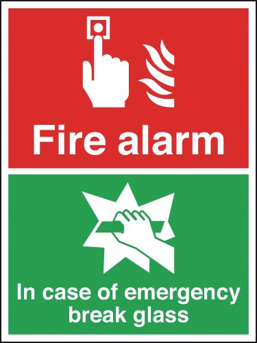 250 x 200 mm fire alarm in case of emergency self adhesive vinyl labels.