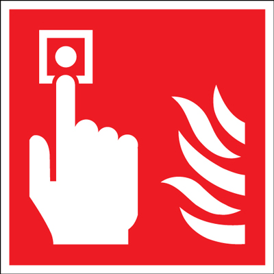 100 x 100 mm fire alarm symbol self adhesive vinyl labels.