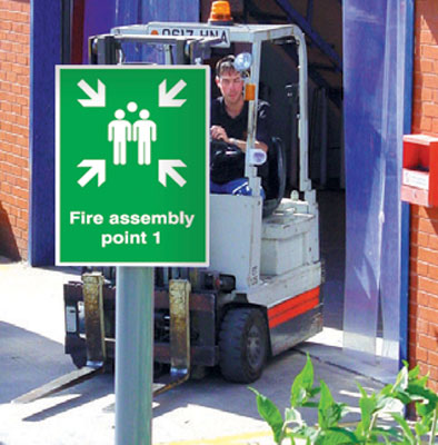 400 x 300 mm fire assembly point 1 aluminium sign with channel on back.