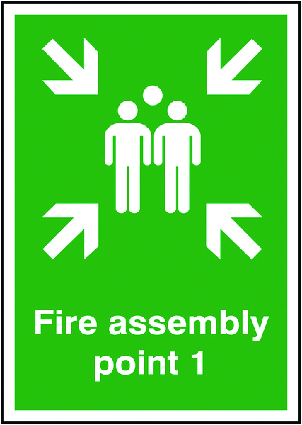 A5 fire assembly point 1 self adhesive vinyl labels.