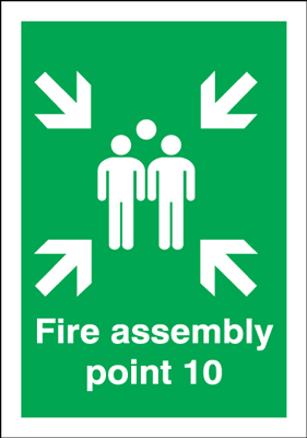 400 x 300 mm fire assembly point 10 1.2 mm rigid plastic signs with self adhesive backing.