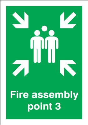 A5 fire assembly point 3 self adhesive vinyl labels.