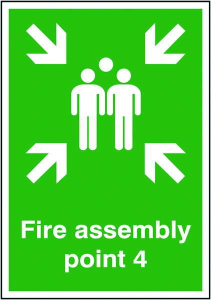 A5 fire assembly point 4 self adhesive vinyl labels.